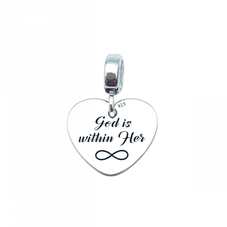 Charm argint personalizat - God is Within Her0
