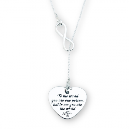 Lantisor din argint asimetric gravat, charm infinit si inimioara [0]