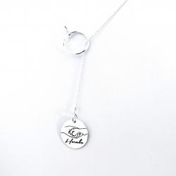 Colier argint asimetric gravat Pure Love0