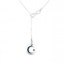Colier argint asimetric charm infinit gravat cu simbol Semiluna0