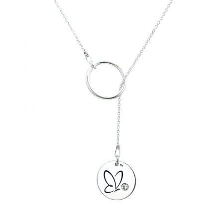 Colier argint asimetric gravat Simbol cristal Swarovski0