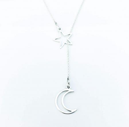 Lantisor asimetric argint si doua charmuri Moon & Star [1]