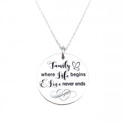Colier argint gravat Family Life & Love0