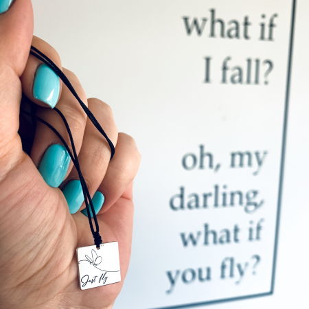 Colier argint personalizatcu mesaj Just Fly [0]