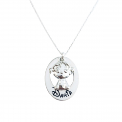 Colier argint gravat pandantiv oval si charm Fetita/ Baietel0