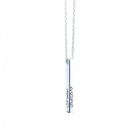 Colier argint gravat pandantiv vertical 3D - Te iubesc1