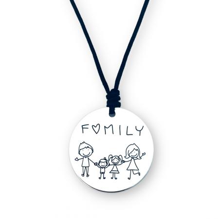 Colier argint gravat snur textil Family - Personally ME [0]