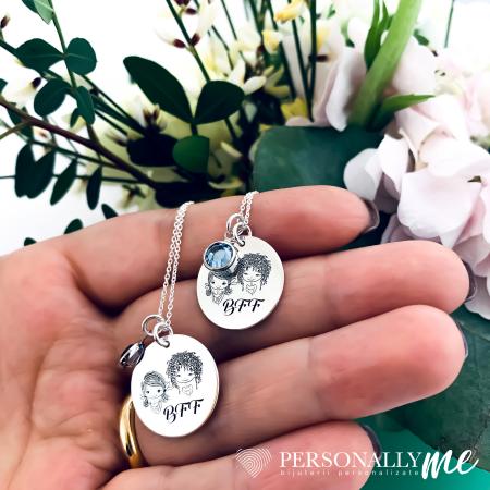 Colier argint gravat True Friends are Forever2