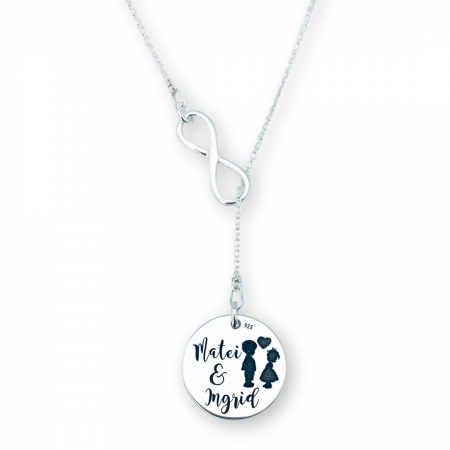Colier argint personalizat asimetric dama gravat Siluete copii