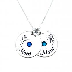 Colier argint personalizat, Banuti Simbol Cristale Swarovski si Nume [1]