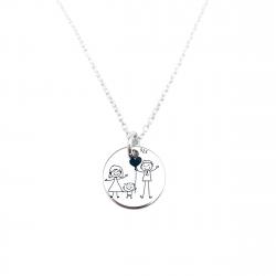 Colier argint personalizat gravat cu simbol Happy Family0