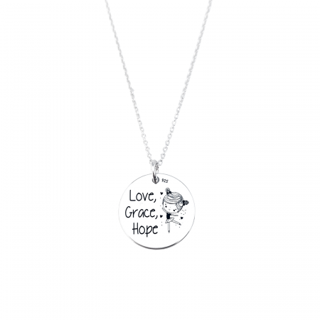 Colier argint personalizat - Love, Grace, Hope0