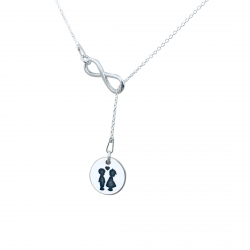 Colier argint asimetric charm infinit gravat cu simbol Semiluna1