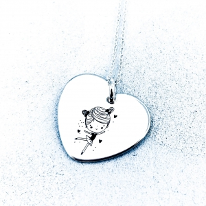 Colier argint gravat Inimioara Ballerina2