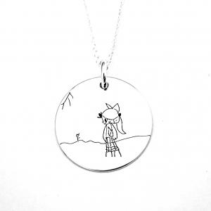 Colier argint gravat Kid's Drawing0