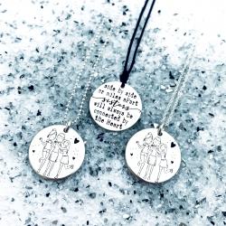Colier argint gravat Sisters1