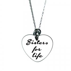 Colier argint gravat Sisters for life0
