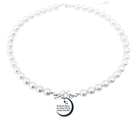 Colier personalizat argint cu perle swarovski - Be like the Moon1