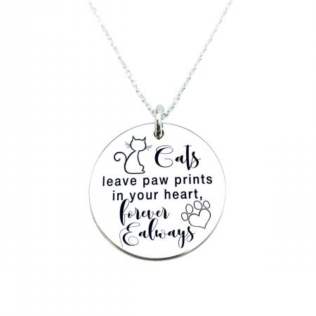 Colier personalizat argint gravat - Cats Lover0