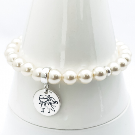 Set bratara personalizata argint, charm gravat, sirag perle&Cercei Perle Swarovski Siluete Copii1