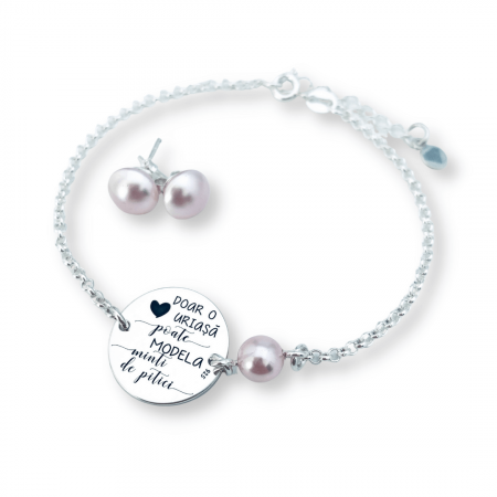 Set Bijuterii Gravate Personalizate, banut gravat & Cercei perle [0]