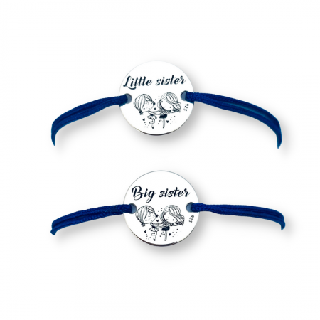 Set Bratari personalizate argint, snur impletit reglabil Sisters Love [0]