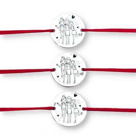Set bratari personalizate din argint, snur textil reglabil Surioare [0]