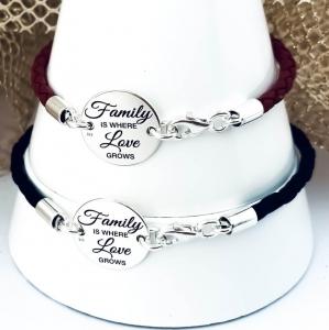 Set bratari personalizate argint, snur impletit piele naturala Family1