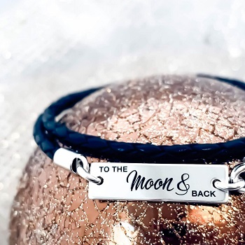 Bratara de piele personalizata To the Moon and Back
