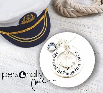 Colier argint gravat My Heart belongs to a sailor