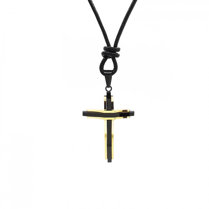 Cruciulita Inox Auriu Negru Snur Personal Style [0]