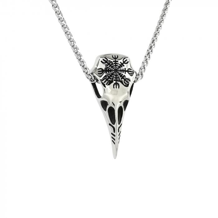 Lant Pandantiv Viking Raven Skull Inox [0]