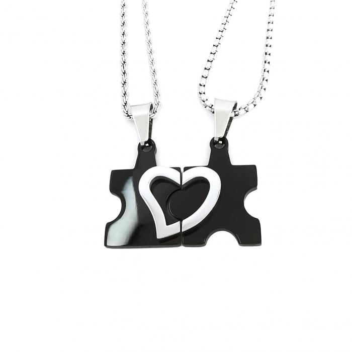 Set Lantisoare Cupluri Puzzle Love Inox [0]