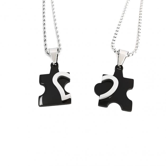 Set Lantisoare Cupluri Puzzle Love Inox [1]