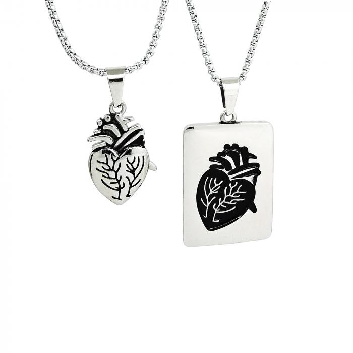 Set Lantisoare Cupluri Inima Inox [0]