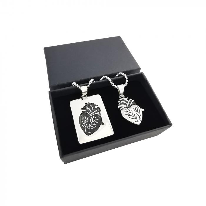 Set Lantisoare Cupluri Inima Inox [2]