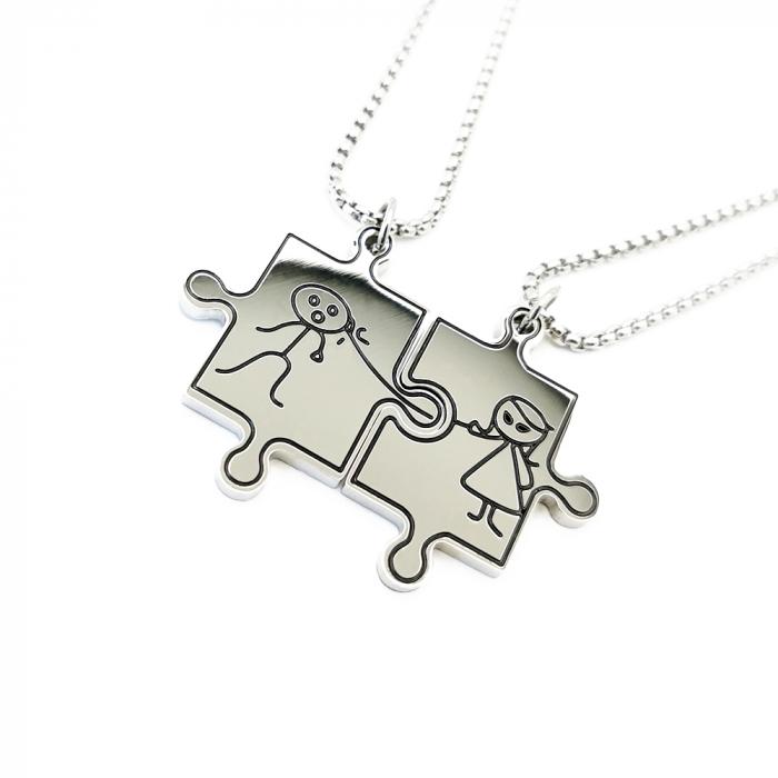 Lantisoare Pandantive Set Lovers Puzzle Inox [2]