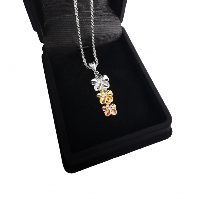 Lantisor Pandantiv Plumeria Argint 925 Placat cu Aur [1]