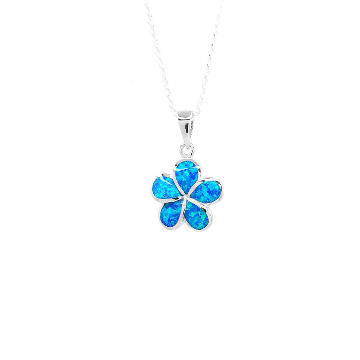 Lantisor Pandantiv  Floare Plumeria  Argint Opal [0]