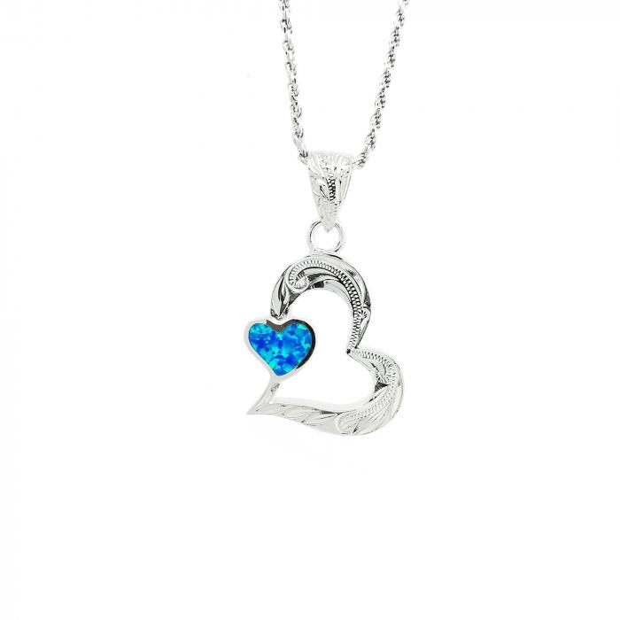 Lantisor Pandantiv Inima Argint Opal [0]