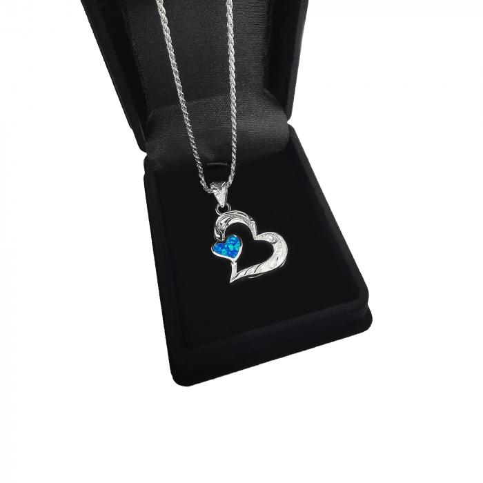Lantisor Pandantiv Inima Argint Opal [1]