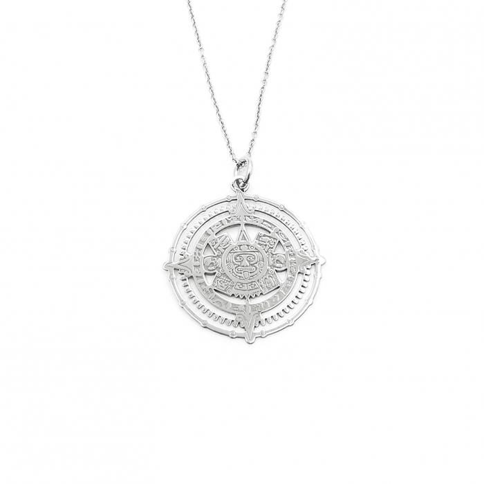 Lantisor Pandantiv Maya Sun Stone Calendar Stone Argint Personal Style [1]