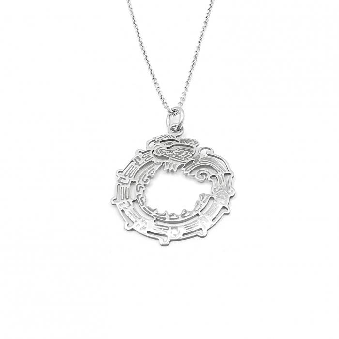 Lantisor Pandantiv Maya Symbol Ouroboruos Dragon Argint [0]