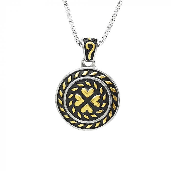 Lant Pandantiv Medalion Lucky Inox [0]