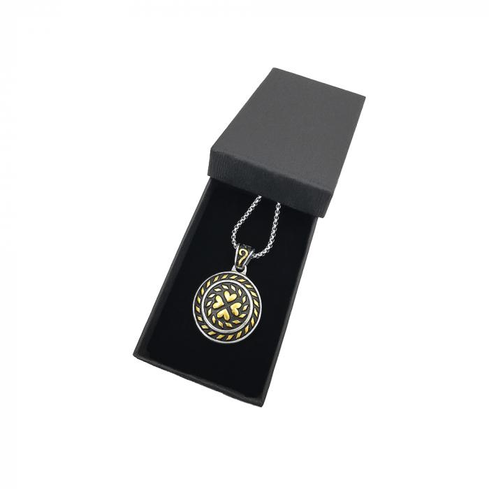 Lant Pandantiv Medalion Lucky Inox [1]