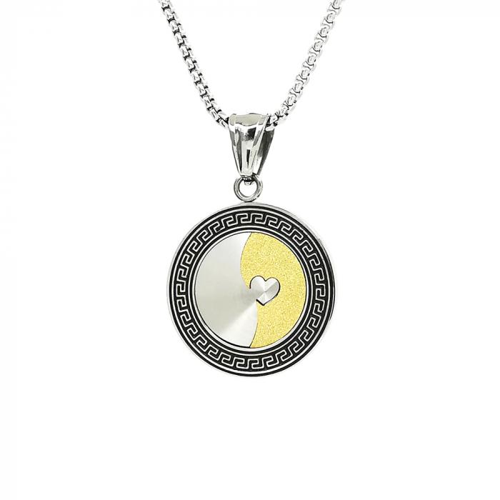 Lant Pandantiv Medalion Soarele Luna Inox [0]