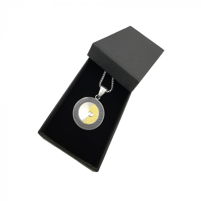 Lant Pandantiv Medalion Soarele Luna Inox [1]