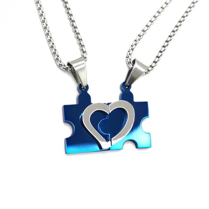 Lantisoare Cupluri Set Pandantive Puzzle Heart Inox [0]
