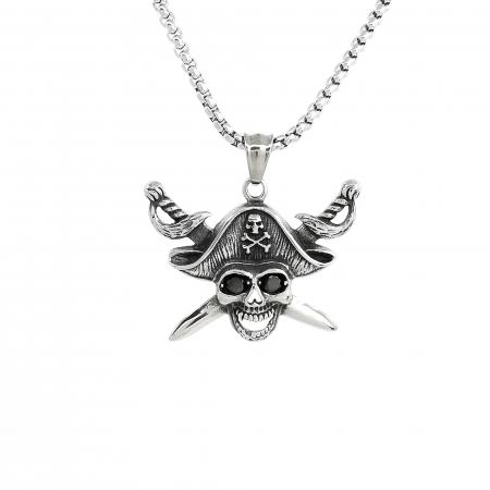 Lant Pandantiv Pirate Skull Inox [0]