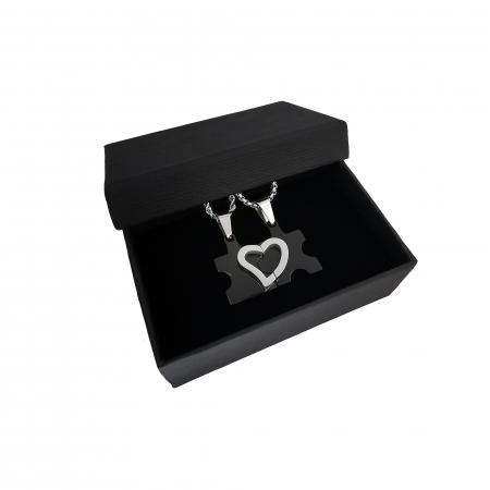 Set Lantisoare Cupluri Puzzle Love Inox [2]